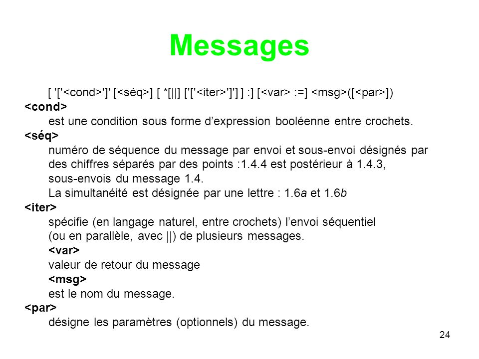 Messages [ [ <cond> ] [<séq>] [ *[||] [ [ <iter> ] ] ] :] [<var> :=] <msg>([<par>]) <cond>